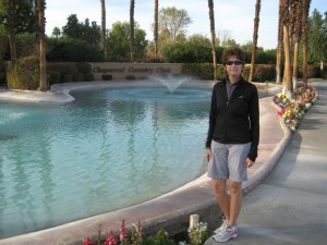 Sue at the fountains at our Chaparral Entrance