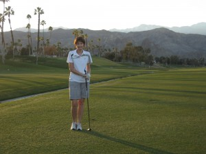 Sue on the golf course