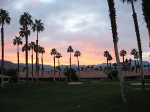 golf-walk-sunset