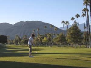 Sue teeing off.