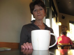 Sue with Starbucks mug