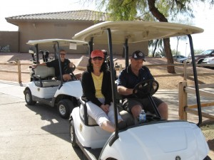 Rudy, Marylou, and Dave wait to tee off at hole #1 at Moutain Brook Golf Course.