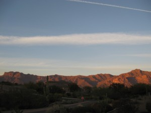 Sunset reflected on Superstition Mountain as seen from Dave and Marylou's patio.