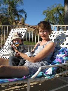Max and Grandma at the pool