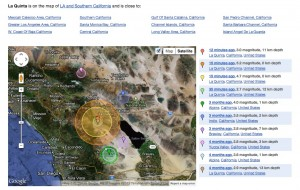 Google map of La Quinta earthquake