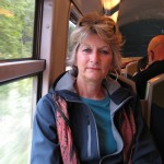 Sue on the train to Fontainebleau