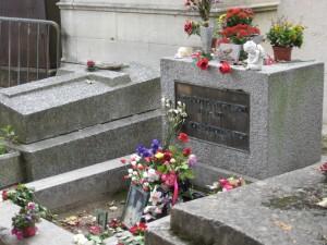 Jim Morrison's grave at Père Lachaise Cemetery.