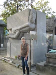 Oscar Wilde's grave at Père Lachaise Cemetery.