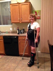 Arlene sporting her new walking cast