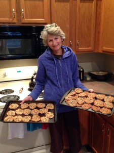 Sue with 2 batches of cookies