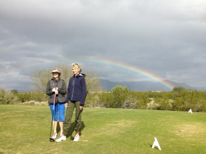 Jessie and Sue and a rainbow