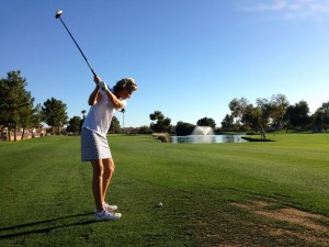 Sue on the fairway at Queen Creek Golf Course
