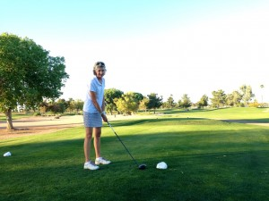Sue at the tees at Queen Creek GC