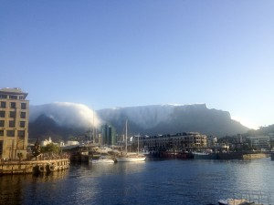 Crazy cloud formation swooping down over the top of Table Mountain.