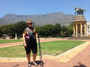 Arlene, in the Company Gardens, with Table Mountain in the background.