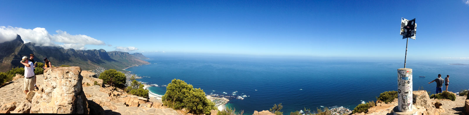 The 'Seven Apostles' (mountains) on the left, then Clifton Beaches, the marker at the 669 metres above sea level.