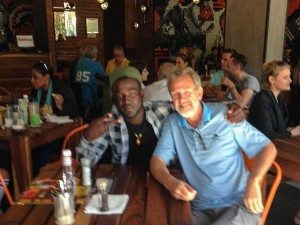 A blurry photo of Mike and me taken by the waiter at Rocomamas.