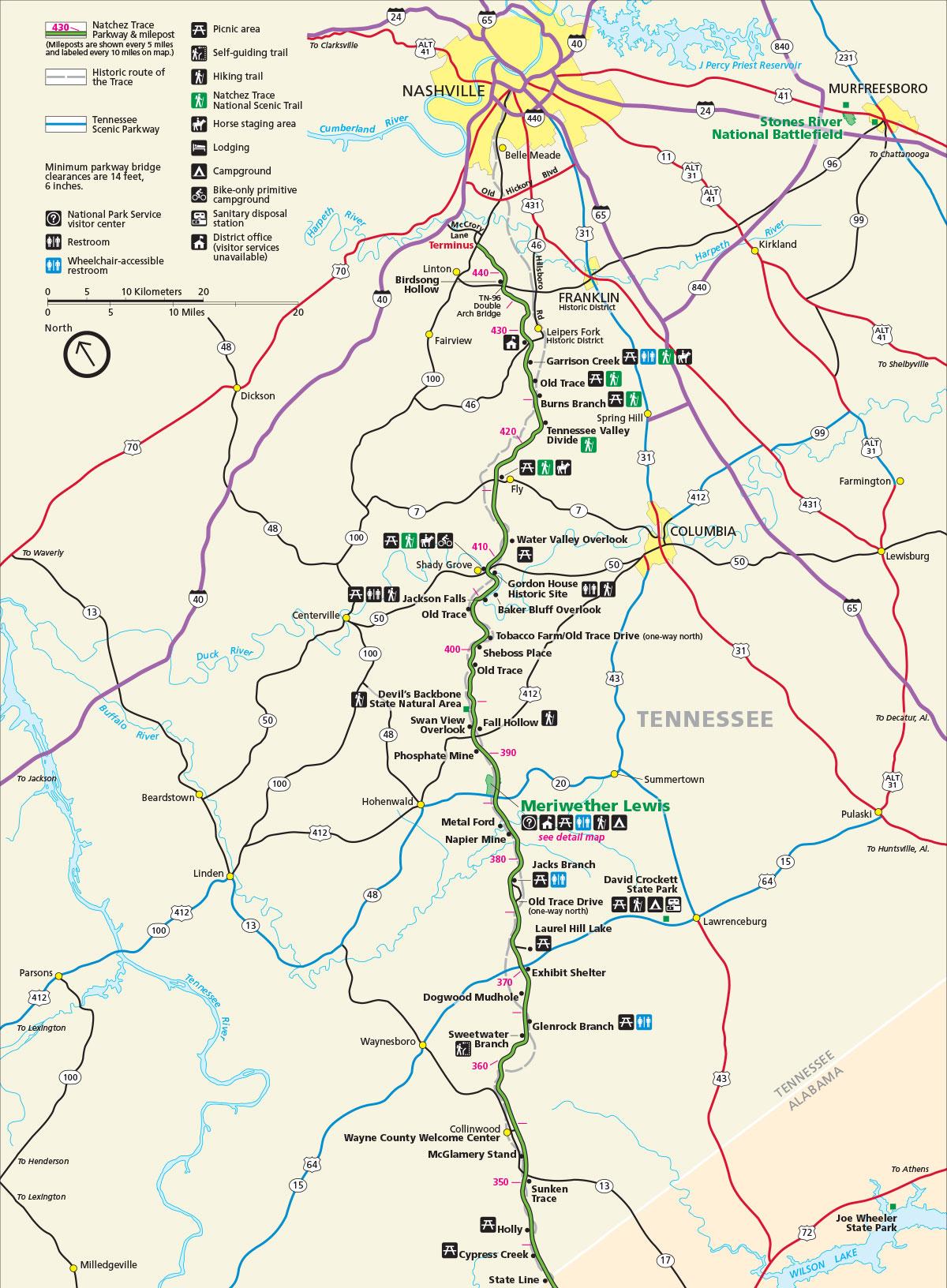 Nashville to Alabama Map
