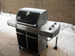 hail piling up on the barbecue in our back yard