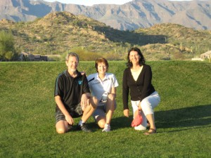 Rudy, Sue, and Marylou at hole #18 at Moutain Brook Golf Course.