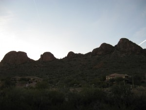 The spine of Dinosaur Mountain viewed at sunset from Dave and Marylou's patio.