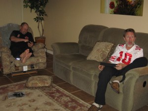 Dave and Rudy watching game.