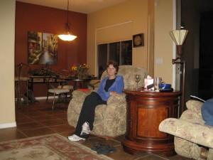 Sue sitting in chair
