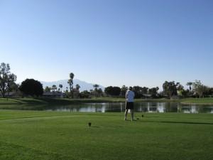 Sue golfing
