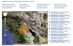 Google map of La Quinta earthquake
