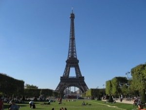 The Eiffel Tower, view from the Champ de Mars Park.