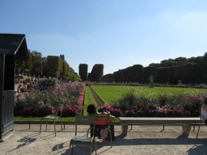 The Jardin du Luxembourg, or the Luxembourg Gardens, is the second largest public park in Paris. On a beautiful sunny fall afternoon like we had today, it was very busy, with lots of sunseekers sitting around the green space and the fountain. We spent an hour or so in the shade of the trees, sitting on a park bench and cooling off from the walk here.