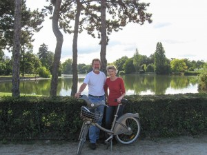 Rudy and Sue in front of one of two large lakes in Bois de Boulogne, a large park in western Paris.