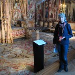 Sue, looking blue, in one of the king's bedrooms at Fontainebleau