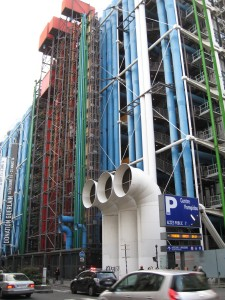 Centre Georges Pompidou - with colourful utility pipes outlandishly located on the outside, houses art and film exhibitions.