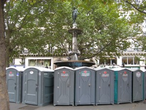 portapotties around the fountain