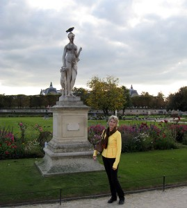 Sue at the Tuileries Garden at the centre of Paris.