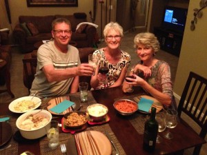 Ed, Val, and Sue toasting the Thanksgiving holiday
