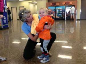 Oma and Max at the airport
