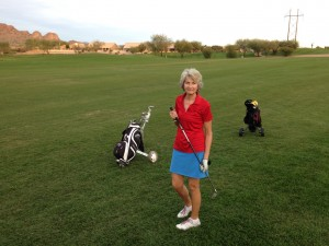 Sue golfing at Mountain Brook