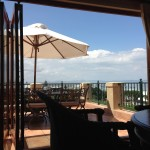 Our view of the sea -- from the 'big room' upstairs at our lodge.