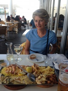 Sue and a seafood platter for 2.