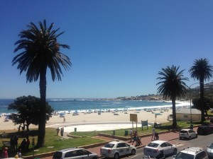 The view from the Blues Restaurant overlooking the beach at Camps Bay.