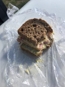 Ham and cheese sandwich on the seat of our golf 'buggy'.