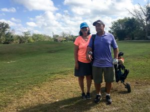 MaryLou and her caddy/coach.